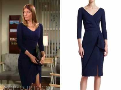the young and the restless, phyllis newman, michelle stafford, navy blue dress