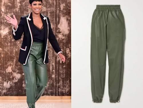 tamron hall, tamron hall show, green leather track pants