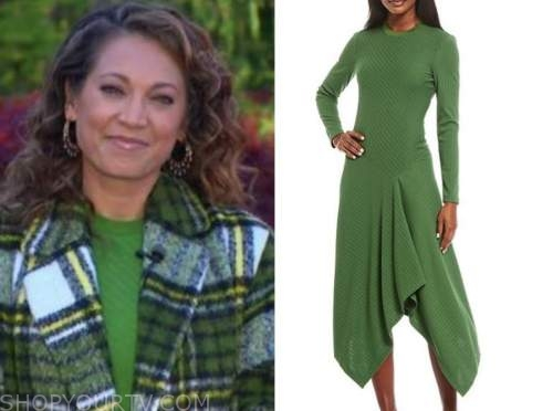 ginger zee, green ribbed knit dress, good morning america