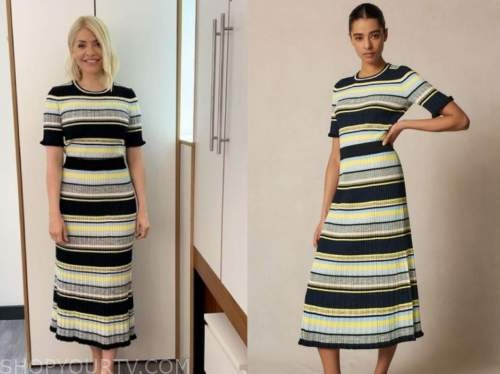 holly willoughby, this morning, striped knit top and skirt
