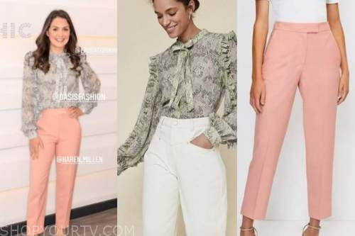 susanna reid, good morning britain, snakeskin blouse, coral pants