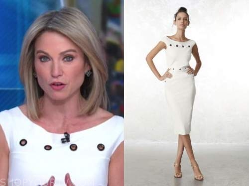 good morning america, amy robach, white grommet dress