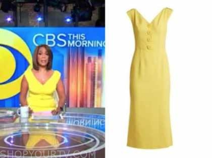 cbs this morning, gayle king, yellow button dress