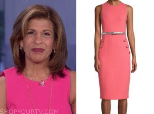 the today show, hoda kotb, pink button sheath dress