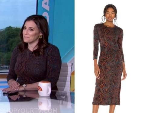 hallie jackson, the today show, brown snakeskin dress
