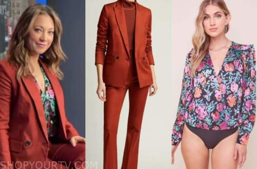 ginger zee, good morning america, red pant suit, floral bodysuit top
