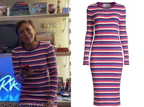 robin roberts, good morning america, striped ribbed knit dress