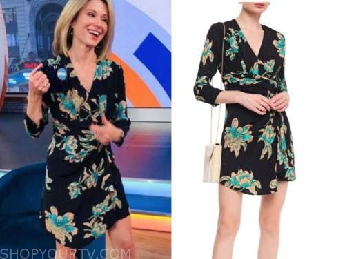 amy robach, black and teal floral wrap dress, good morning america