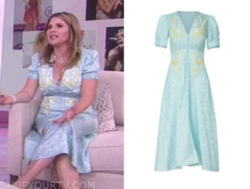 the today show, jenna bush hager, blue floral midi dress
