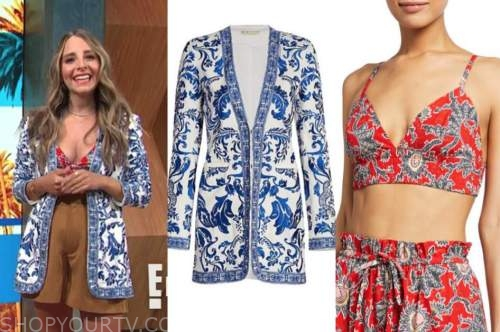 lilliana vazquez, E! news, daily pop, blue and white printed jacket, red crop top