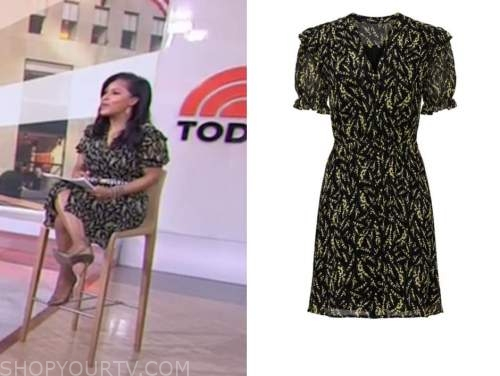 sheinelle jones, the today show, black and yellow printed dress