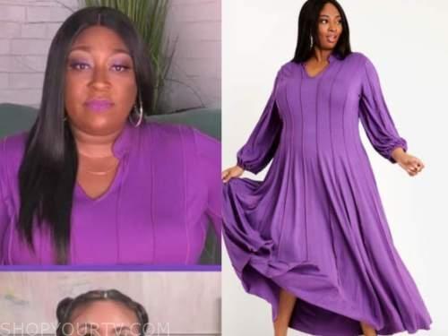 loni love, the real, purple maxi dress