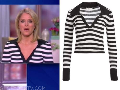 sara haines, the view, black and white striped knit polo top