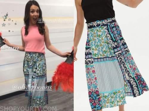 laura tobin, good morning britain, blue mixed print skirt