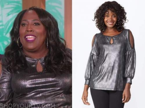 sheryl underwood, the talk, metallic silver keyhole cold-shoulder top