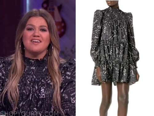 kelly clarkson, the kelly clarkson show, black and white printed mock neck dress