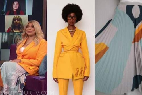 wendy williams, the wendy williams show, orange blazer, pleated colorblock skirt