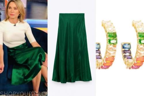 good morning america, amy robach, green skirt, rainbow hoop earrings
