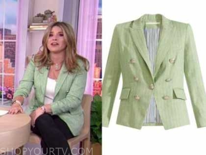 jenna bush hager, the today show, green linen double breasted blazer