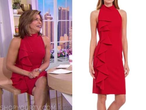 hoda kotb, the today show, red ruffle mock neck sheath dress