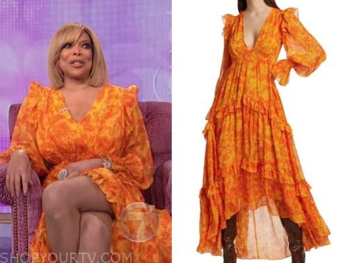wendy williams, the wendy williams show, orange ruffle maxi dress