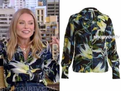 kelly ripa, live with kelly and ryan, abstract printed bird shirt