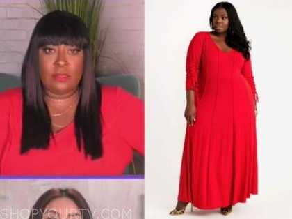 loni love, the real, red seam maxi dress