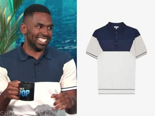 justin sylvester, E! news, daily pop, navy blue colorblock polo shirt