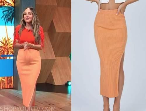 lilliana vazquez, E! news, daily pop, orange ribbed knit skirt
