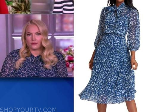 meghan mccain, the view, blue dot pleated tie neck dress