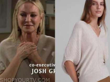 sharon newman, sharon case, the young and the restless, tan v-neck sweater