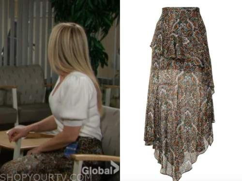 sharon newman, sharon case, the young and the restless, brown paisley print midi skirt