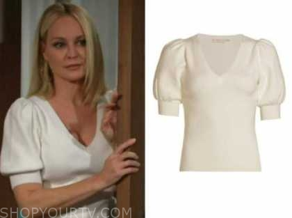 sharon newman, sharon case, the young and the restless, ivory v-neck short sleeve sweater top