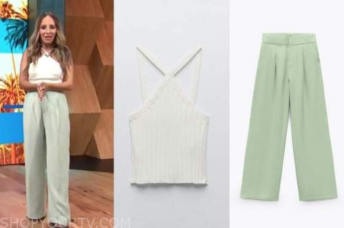 lilliana vazquez, E! news, daily pop, white halter crop top, mint green pants