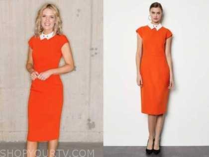 charlotte hawkins, good morning britain, orange collar pencil dress