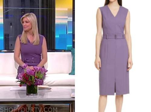 ainsley earhardt, fox and friends, purple belted sheath dress
