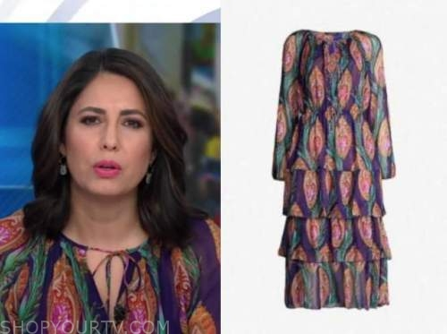 cecilia vega, good morning america, purple printed midi dress