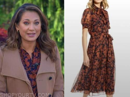 ginger zee, good morning america, orange and blue printed dress