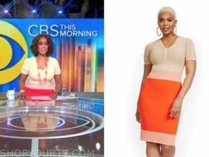 gayle king, cbs this morning, colorblock knit dress