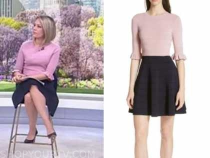 the today show, dylan dreyer, pink and navy blue knit dress