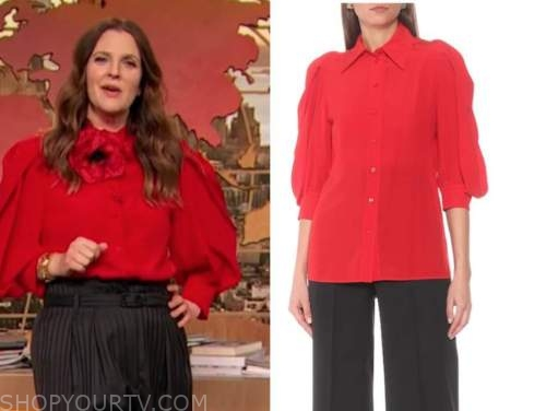drew barrymore, drew barrymore show, red blouse