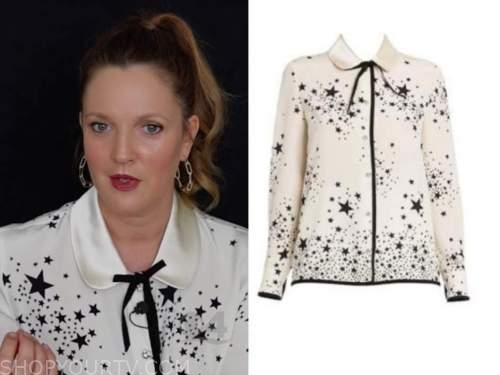 drew barrymore, drew barrymore show, black and white star print top