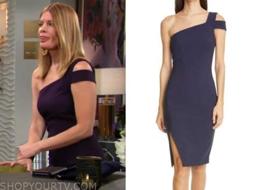 michelle stafford, the young and the restless, phyllis newman, navy blue one-shoulder dress