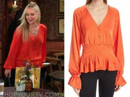sharon newman, sharon case, the young and the restless, orange blouse