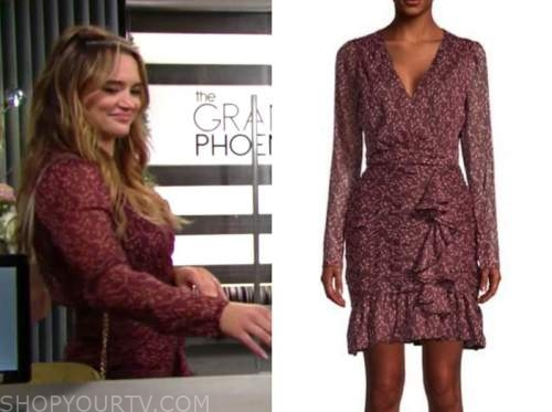 summer newman, hunter king, the young and the restless, burgundy floral wrap dress