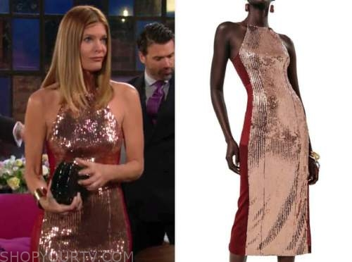 michelle stafford, phyllis newman, the young and the restless, sequin panel sheath dress