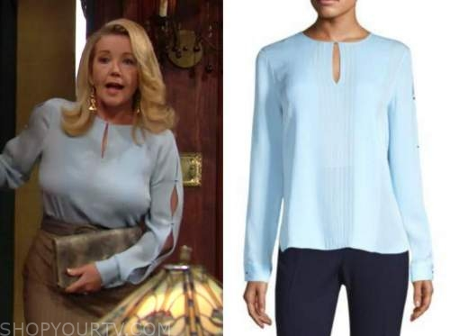 nikki newman, melody thomas scott, the young and the restless, blue split sleeve blouse