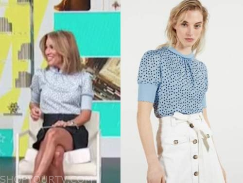 kit hoover, access daily, blue polka dot top