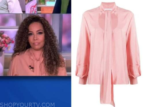 sunny hostin, the view, pink tie neck keyhole top