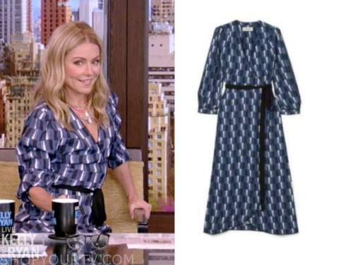 kelly ripa, live with kelly and ryan, blue geometric print wrap dress
